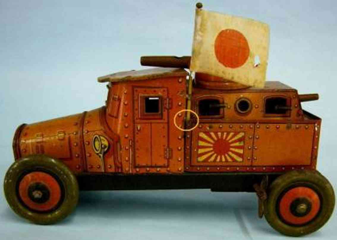 meiji military toy car tank car lithographed tin with spring motor