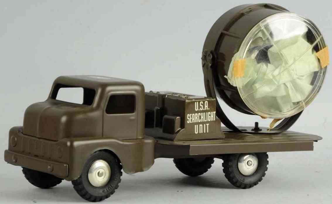 structo military toy car pressed steel army search light truck