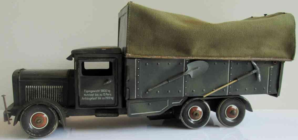 tippco 181/167 militar spielzeug pionierauto lastwagen mit feldkuche uhrwerk