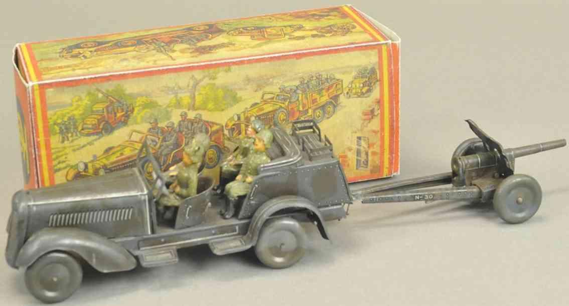 tippco militaer spielzeug offiziersjeep grau tarnfarben uhrwerk vier soldaten