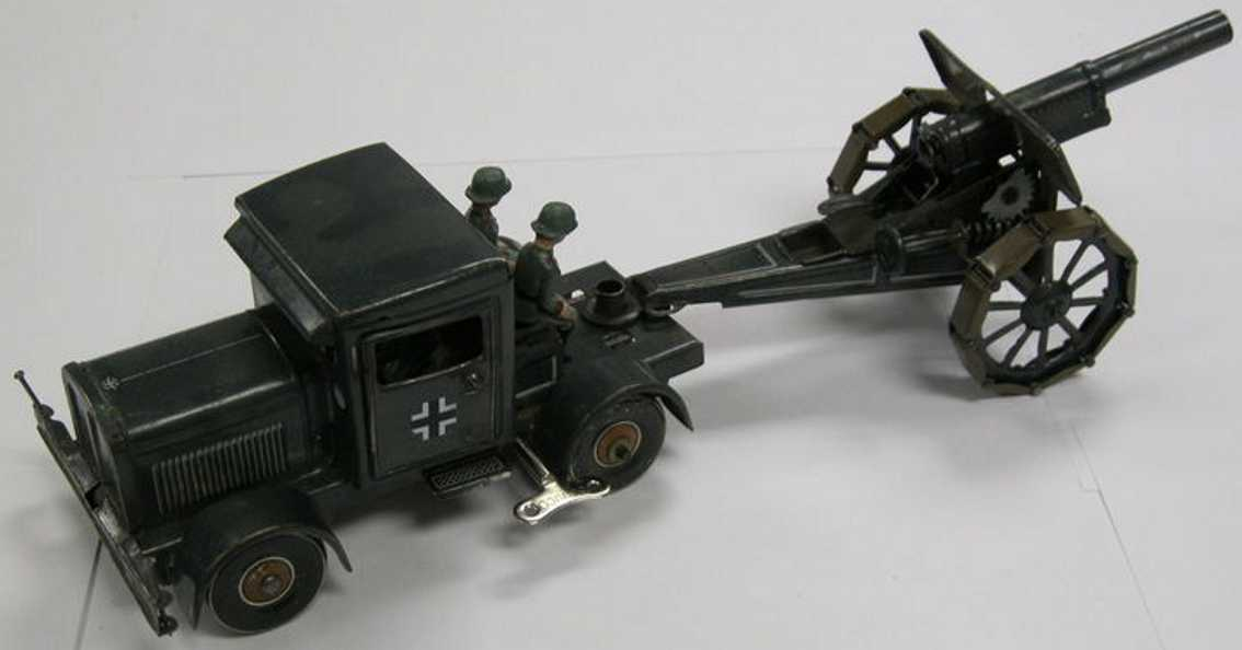 tippco military windup toy car truck field cannon 4 soldiers