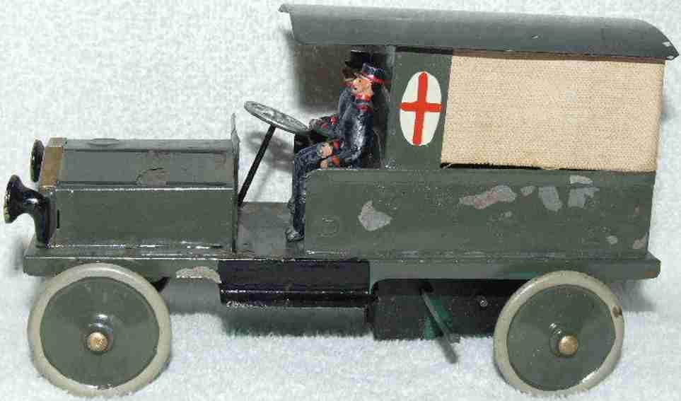 unknown militaer spielzeug auto deutscher militär krankenwagen aus blech mit uhrwerk, aufgez