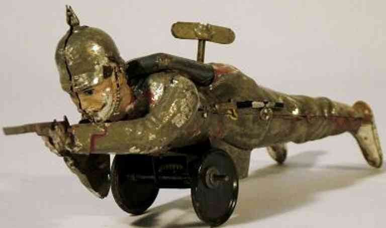 guenthermann military toy lying soldier with rifle gun clockwork