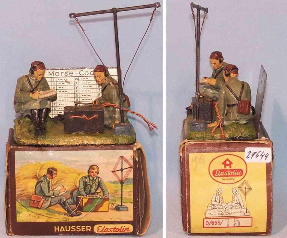 hausser elastolin 0/659/15 militaer spielzeug funkergruppe masse