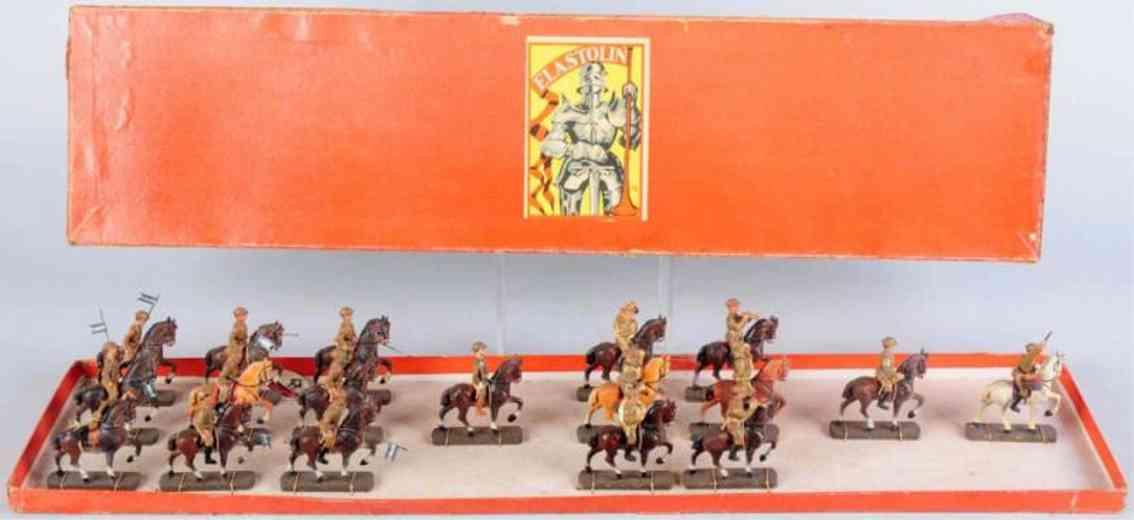 hausser elastolin 0/448/18 militaer spielzeug 18 soldaten mit pferden der us-armee