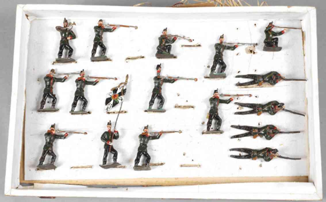 heyde 170 militaer spielzeug figur 16 zinnfiguren fahnentraeger trompeter