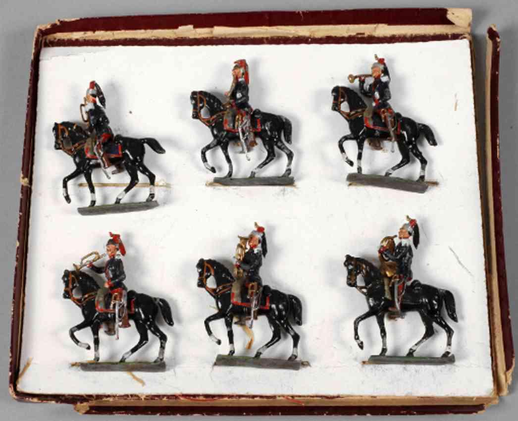 heyde militaer spielzeug zinnfiguren franzoesische dragoner sechs reiter blasinstrumente