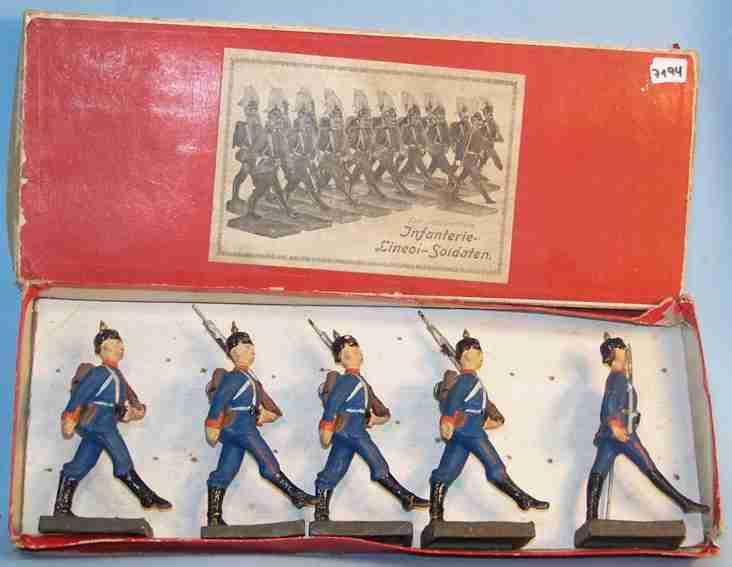 lineol militaer spielzeug figur preußische infanterie soldaten im stechschritt marschieren,