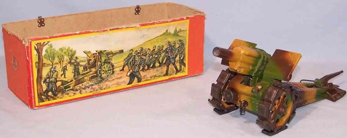 hausser elastolin 712m militaer spielzeug waffe grosse kanone moerser aus blech