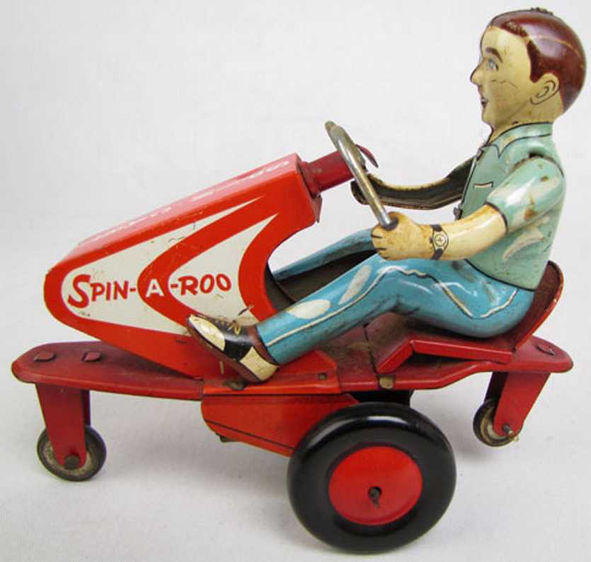 alps blech spielzeug motorrad spin-a-roo spin cart mit uhrwerk, lithografiert. wenn der fi