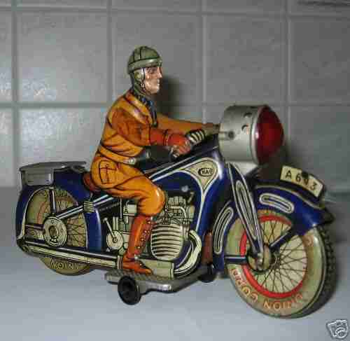arnold a643 tin toy spark motorcycle with clockwork