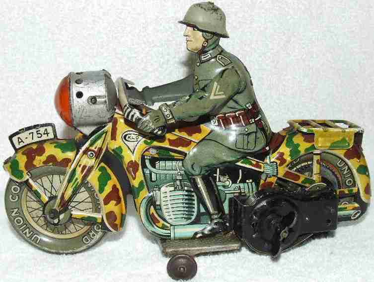 arnold a-754 tin toy military motorcyclist