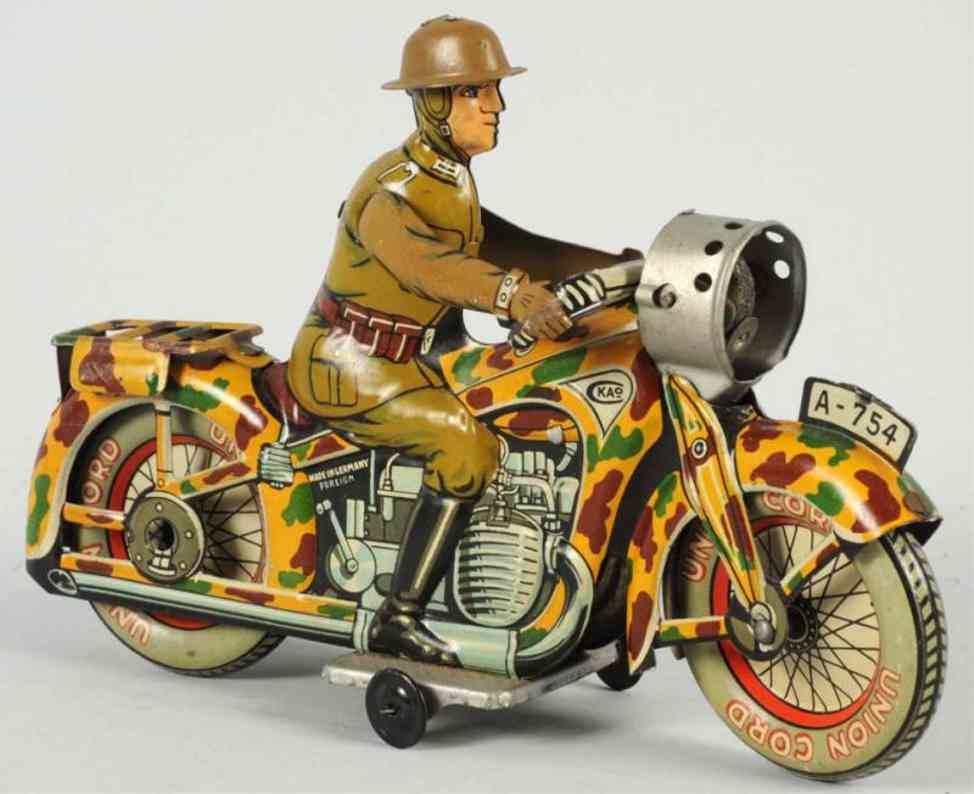 arnold a754 tin toy military motorcycle driver