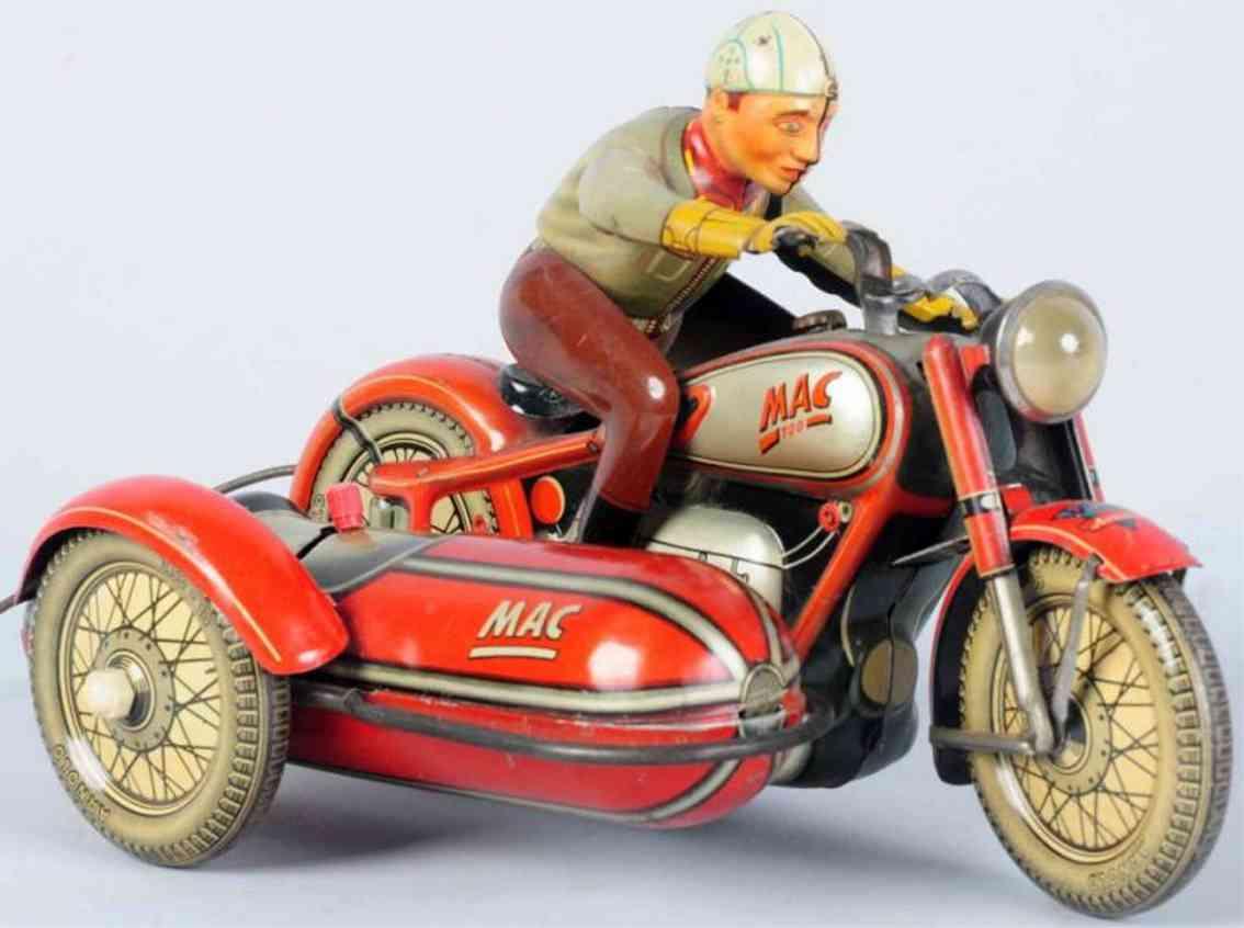 arnold mac 700 blech spielzeug motorradfahrer mit seitenwagen