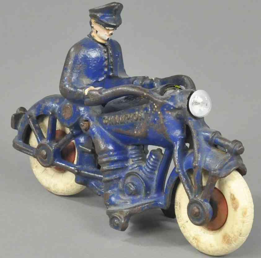 champion hardware co Police 7 battery spielzeug gusseisen polizeimotorradfahrer scheinwerfer blau batterie
