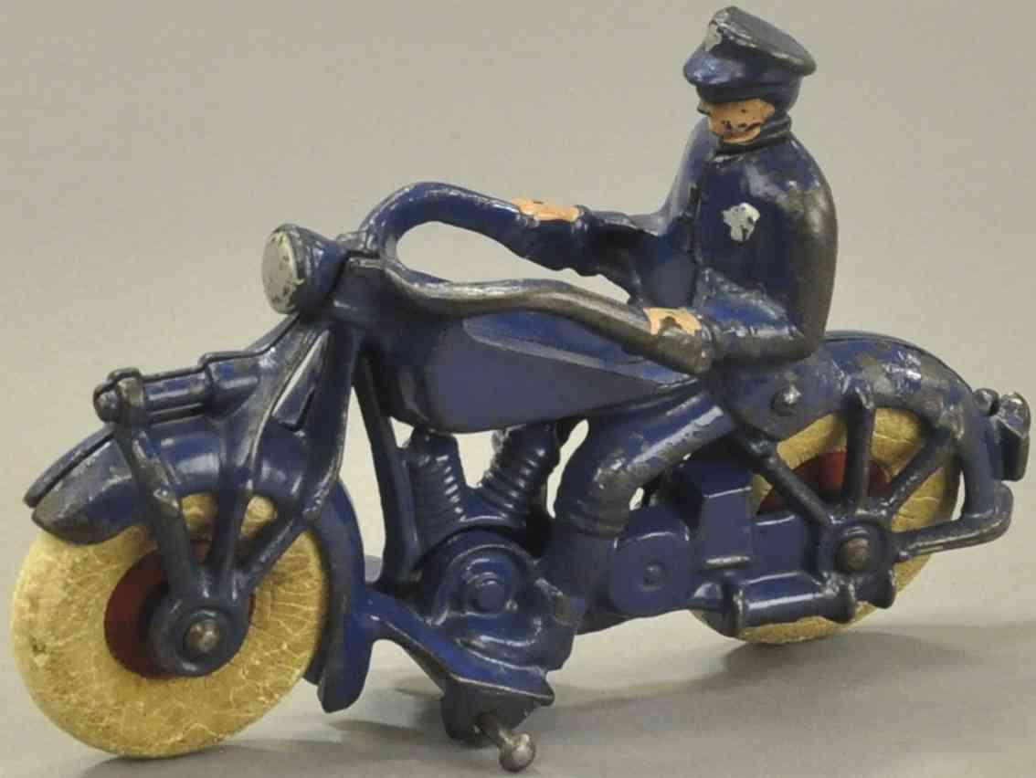 champion hardware co spielzeug gusseisen polizist auf motorrad blau