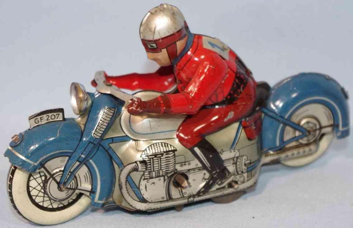 fischer georg 207 blech spielzeug motorrad mit uhrwerk blau