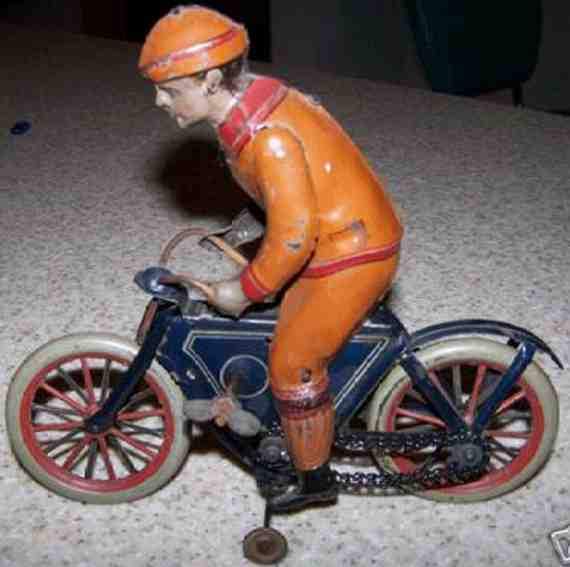 fischer georg tin toy motorcycle driver spring motor