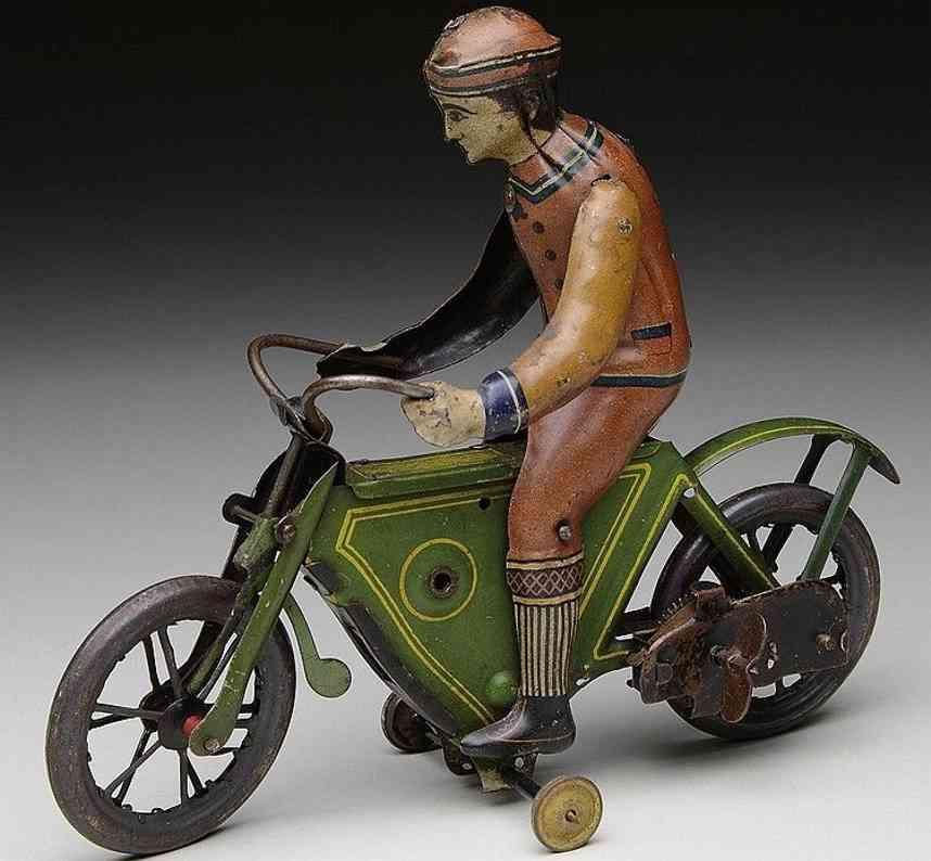 fischer georg tin toy motorcyclist with clockwork