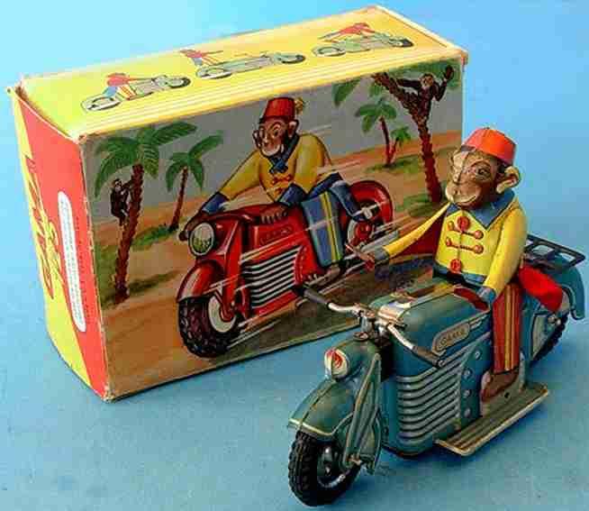 gama 125 blech spielzeug motorrad affe auf motorrad #125 mit uhrwerk, aus filz und blech litho