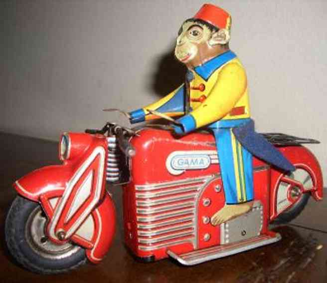 gama 125 blech spielzeug affe auf motorrad