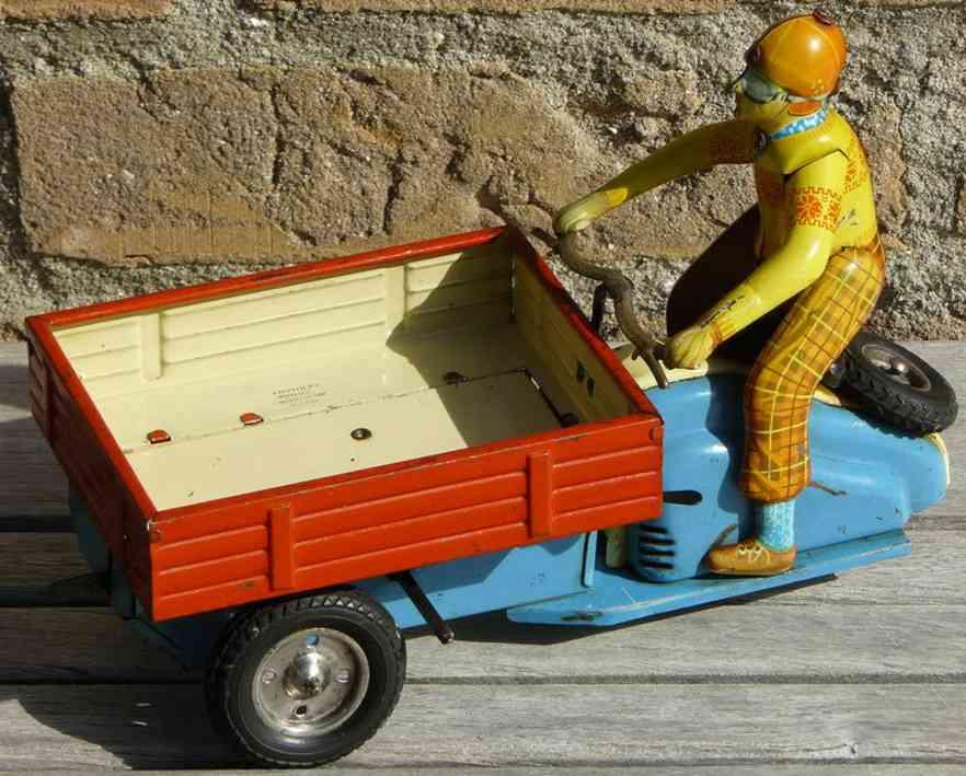 goeso blech spielzeug lambretta transportwagen fahrer uhwerk