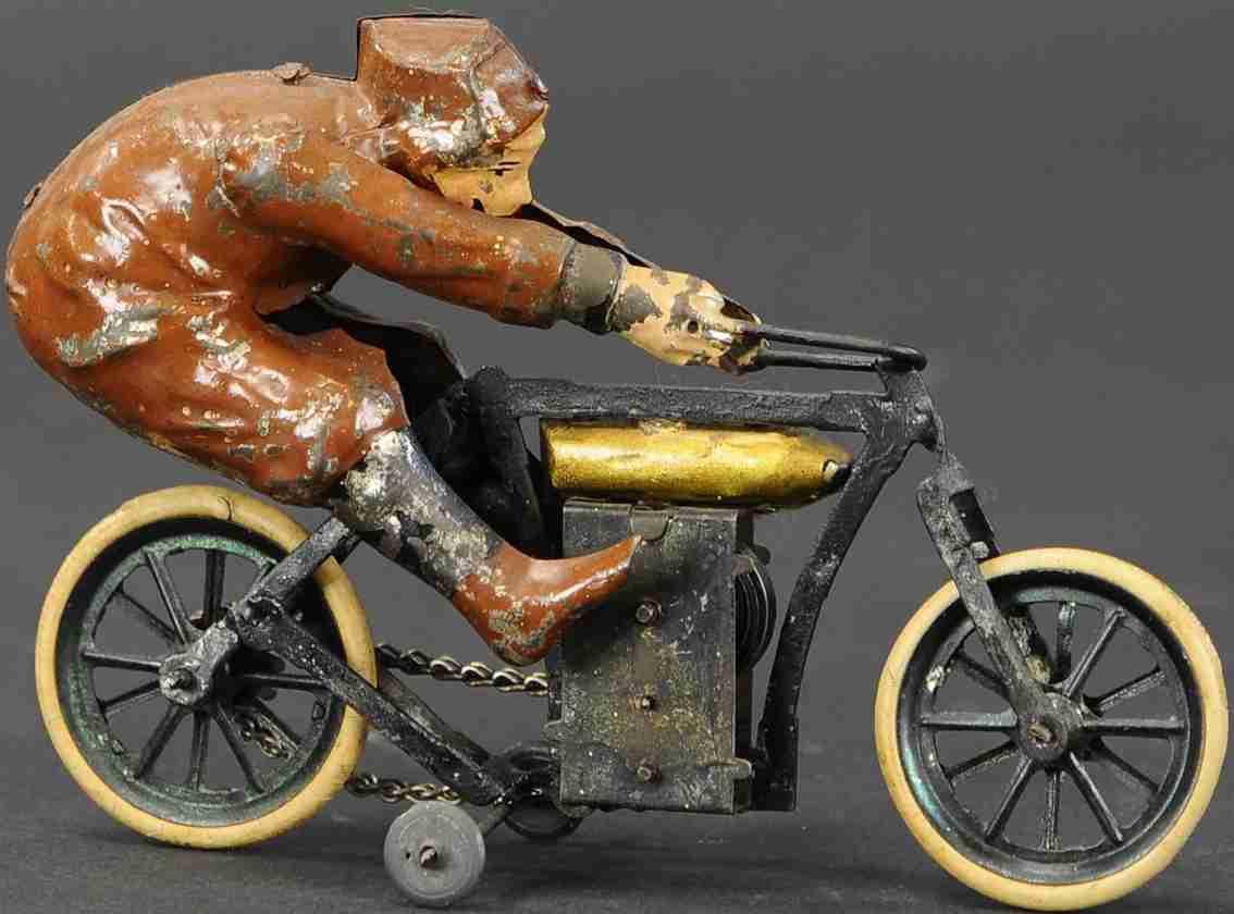 guenthermann blech spielzeug rennmotorrad mit fahrer uhrwerk