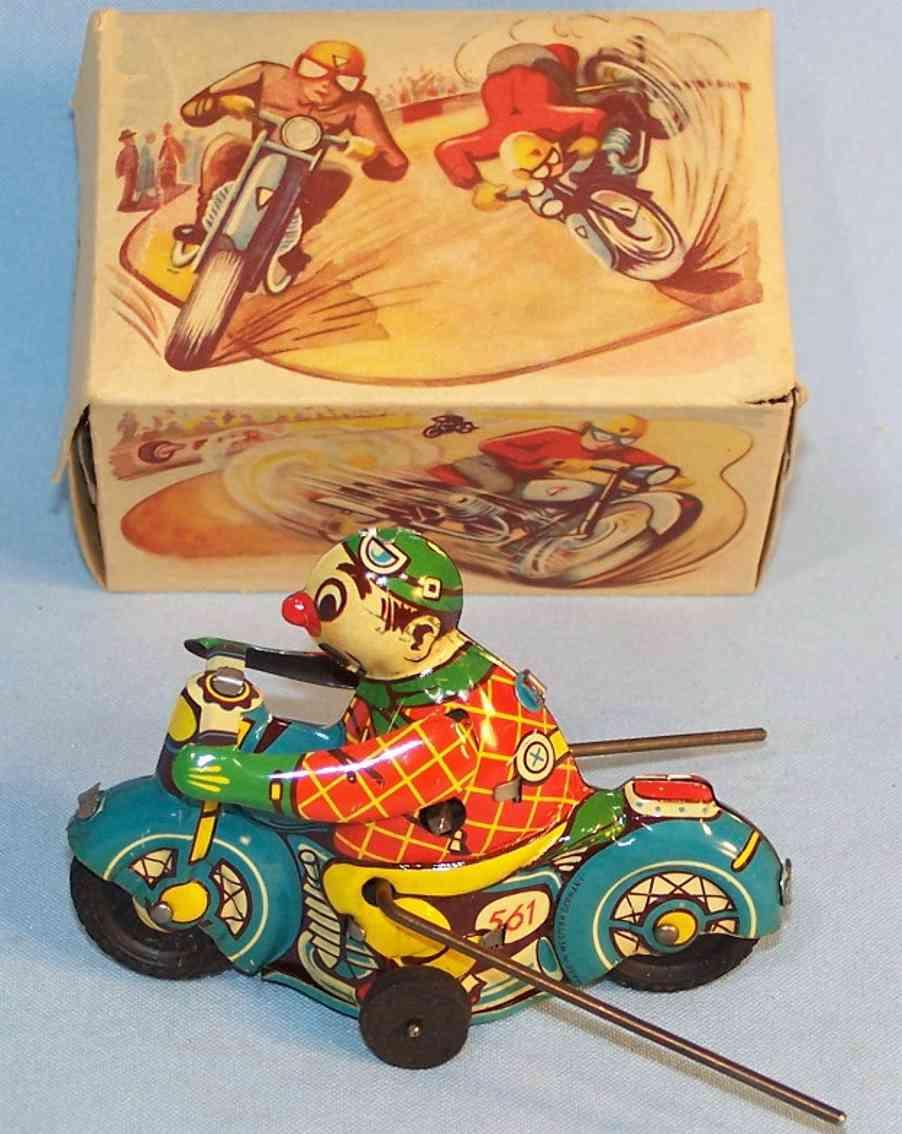 hammerer & kuhlwein 561 tin toy acrobat on motorcycle clockwork blue red