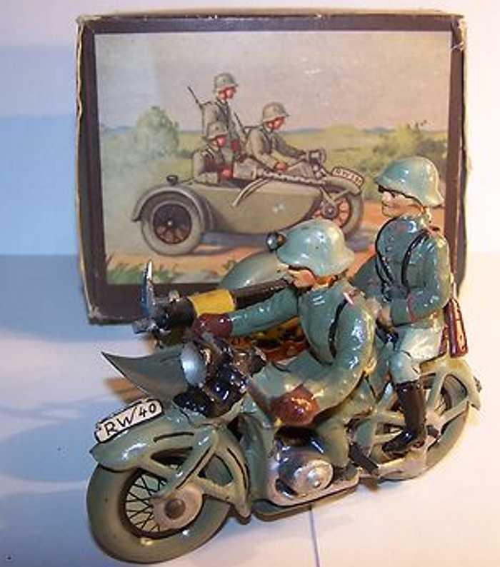 hausser elastolin 591/14 militar spielzeug motorrad mit seitenwagen und uhrwerk