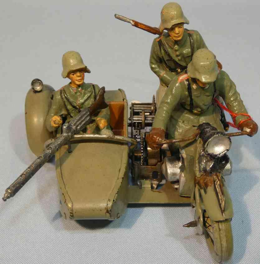 hausser elastolin wh 591militar spielzeug motorrad mit fahrer und soldat mit maschinengewehr