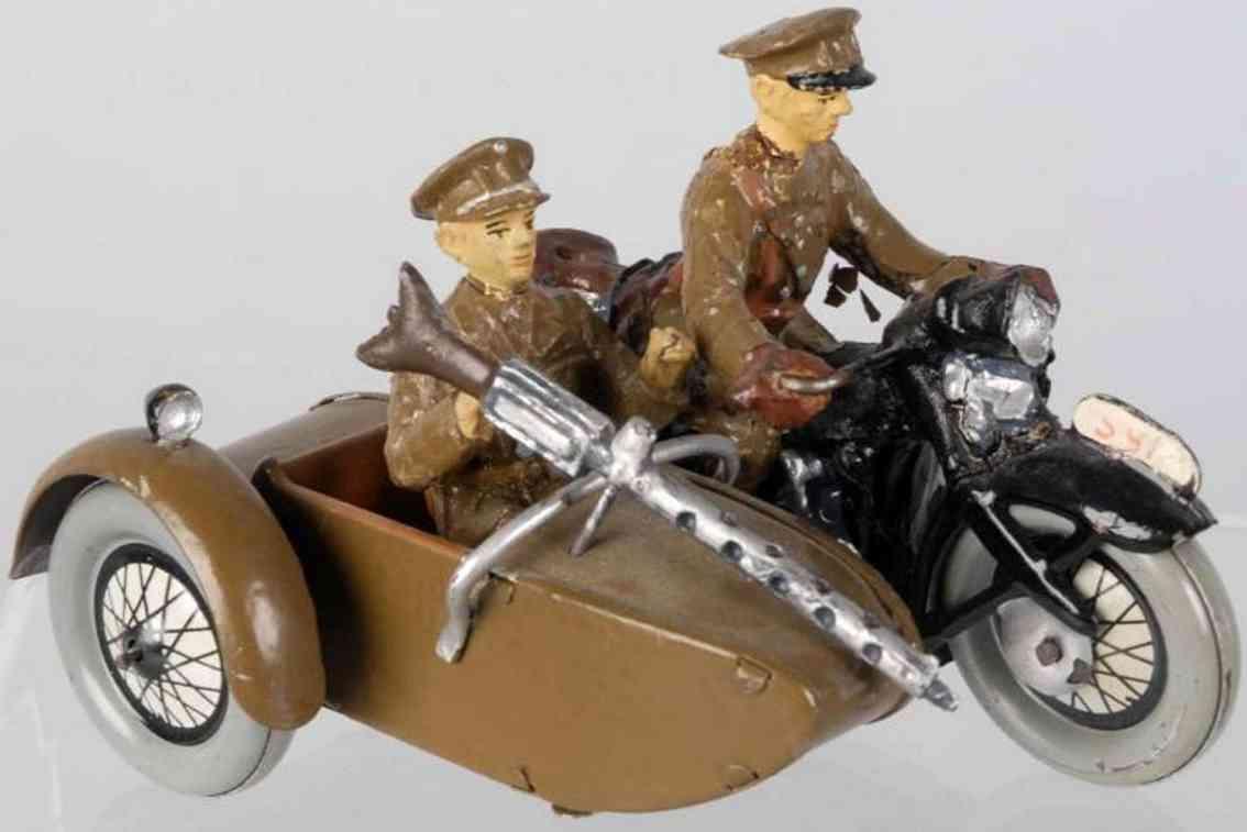 hausser elastolin militaer spielzeug amerikanisches britisches motorrad seitenwagen