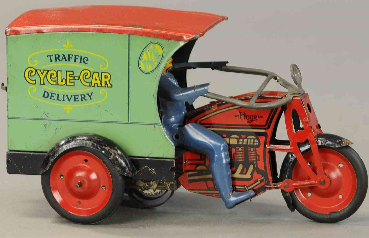 hoge mfg co tin toy motorcycle delivery wind-up
