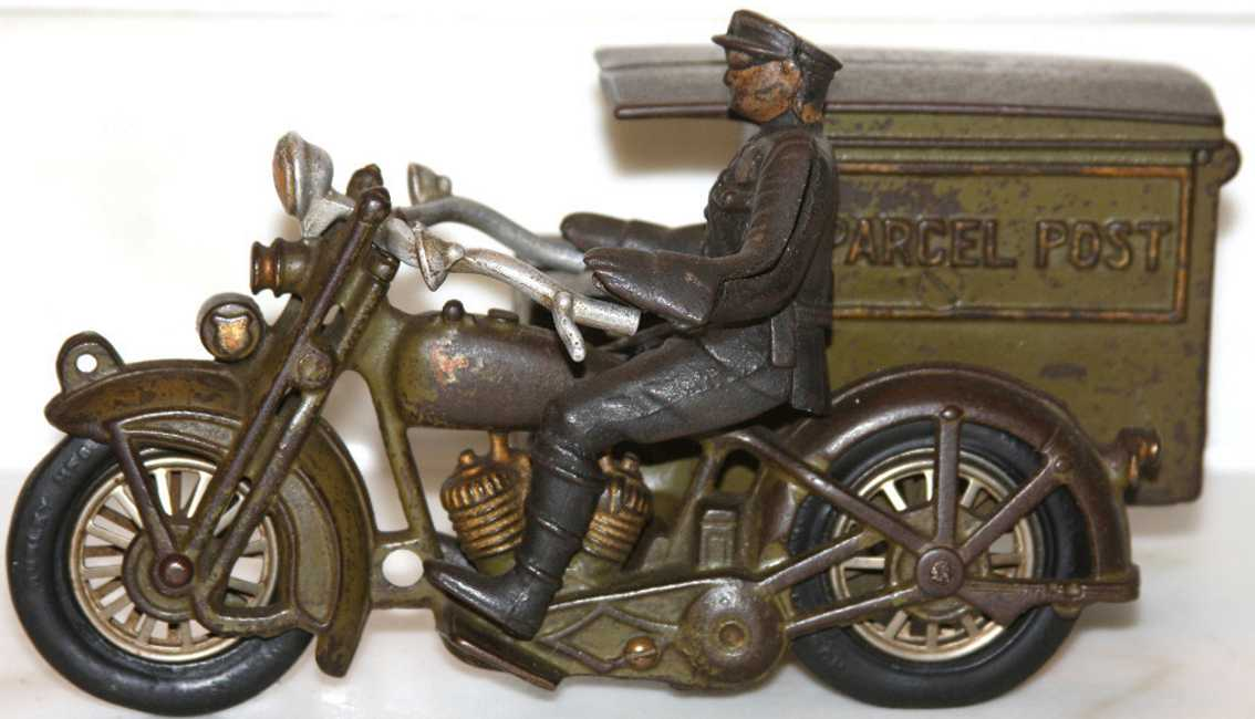 hubley 11 spielzeug gusseisen motorrad harley davidson parcel post truck