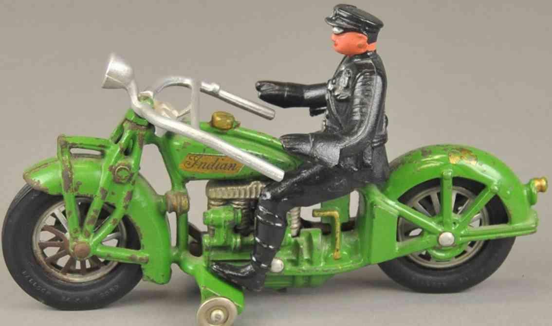 hubley 16 spielzeug gusseisen motorrad polizist vier zylinder gruen