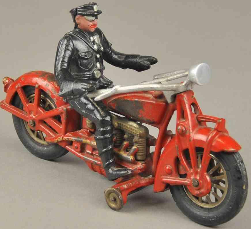hubley 16 spielzeug gusseisen motorradfahrer vier zylinder rot polizist indian