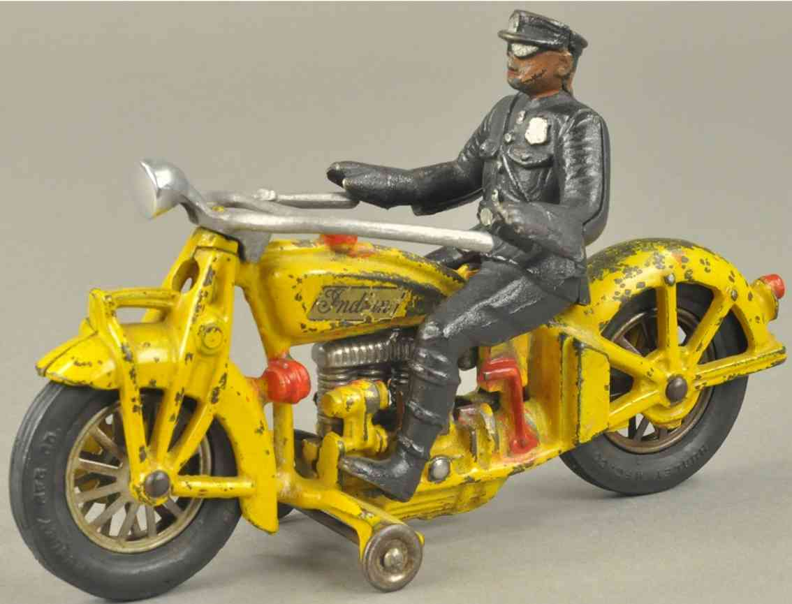 hubley 16 spielzeug gusseisen motorradfahrer vier zylinder gelb polizist indian