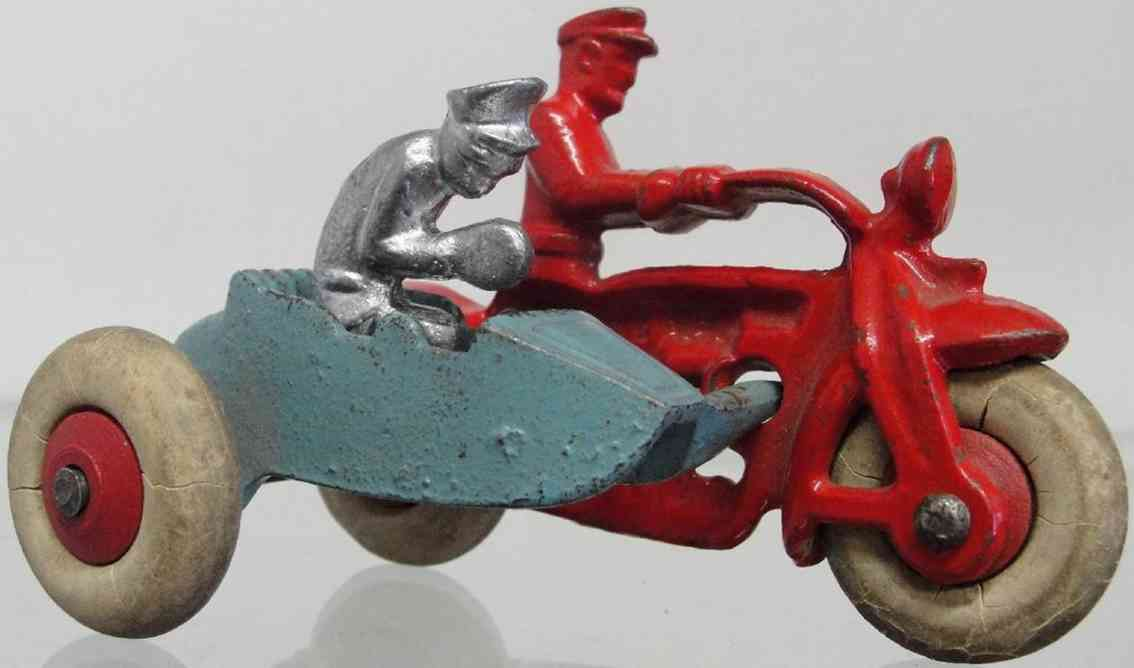hubley 1889 17246 spielzeug gusseisen polizeimotorrad beiwagen rot blau