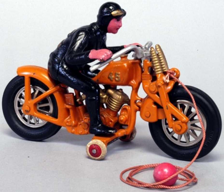 hubley 2 cast iron toy motorcycle hillclimber harley davidson 45 orange black