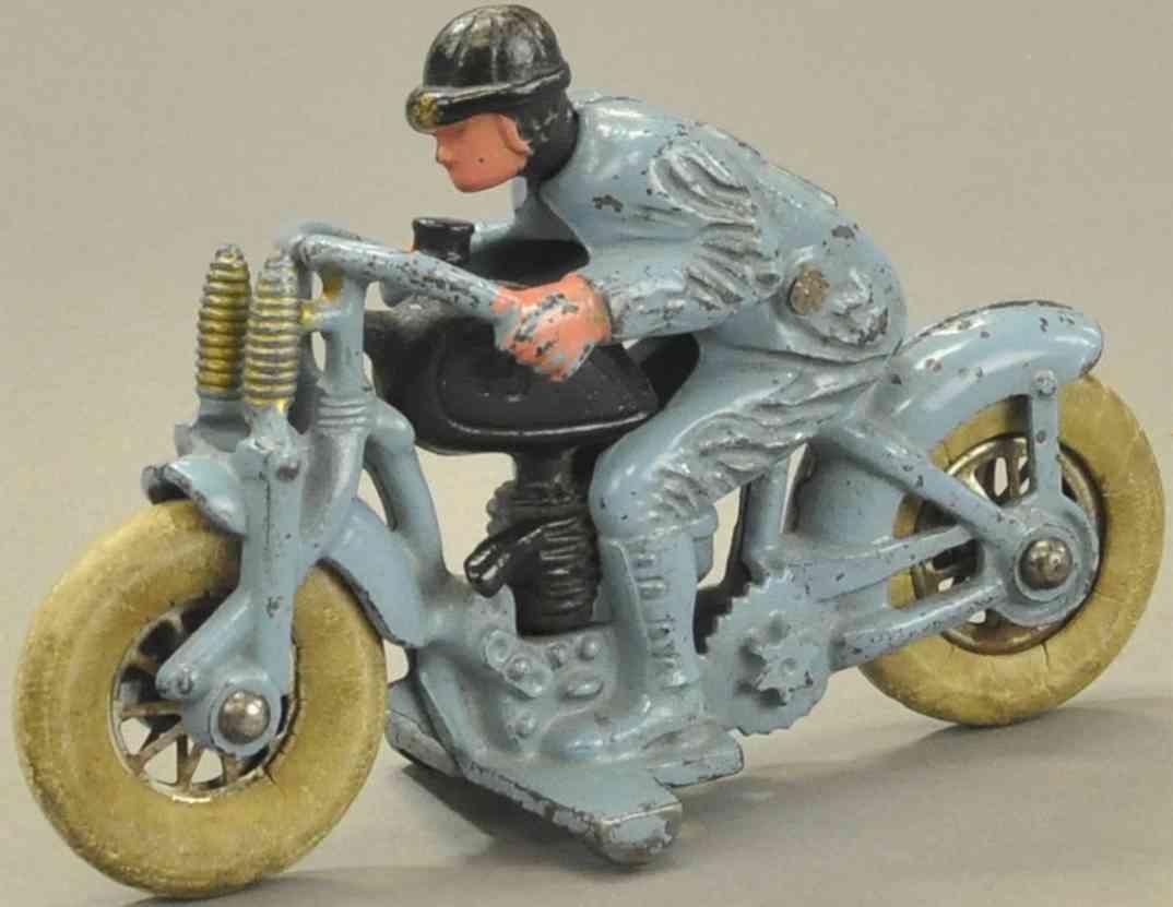 hubley 2 spielzeug gusseisen motorrad hellblau schwarz