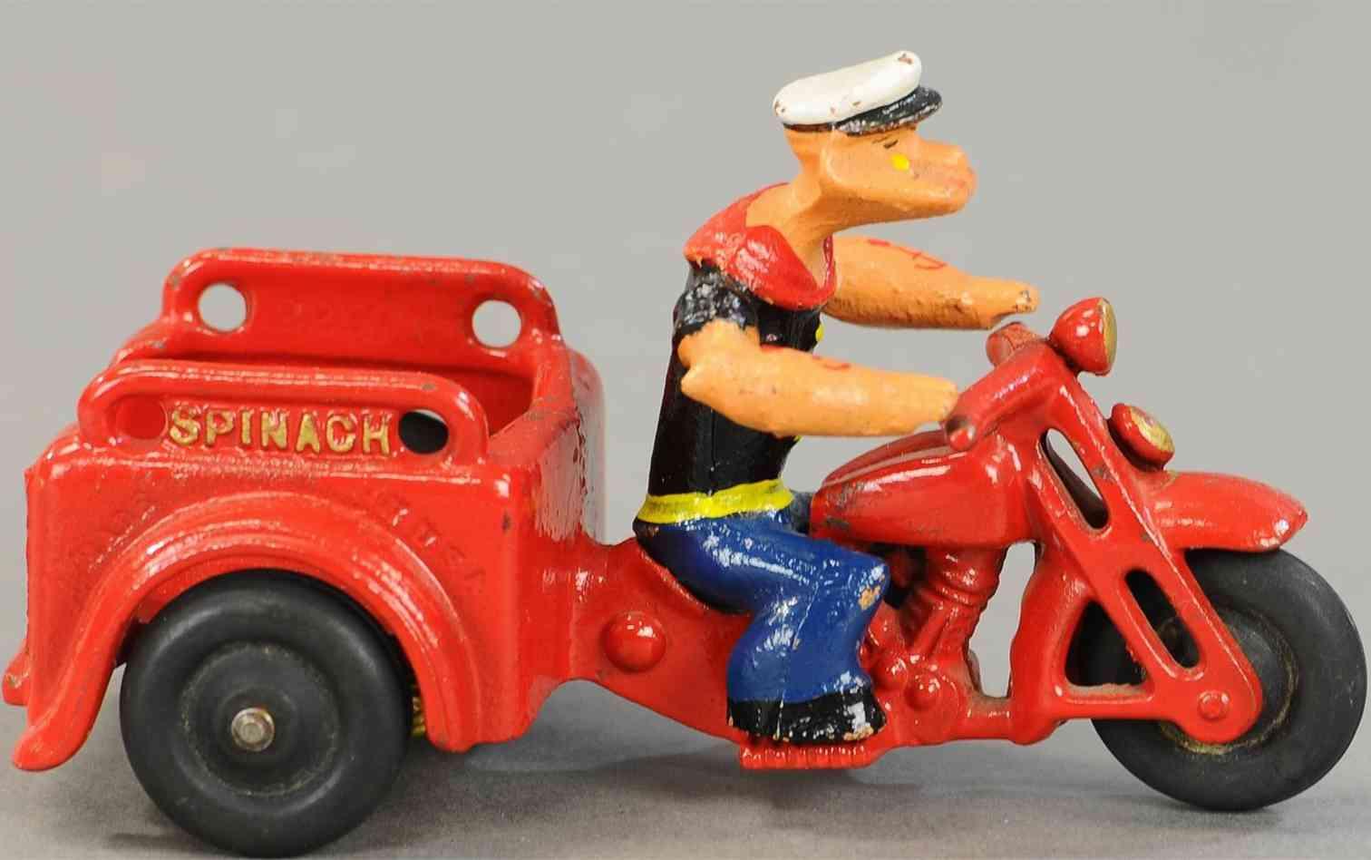 hubley 622 popeye spinach motorcycle demountable popeye driver