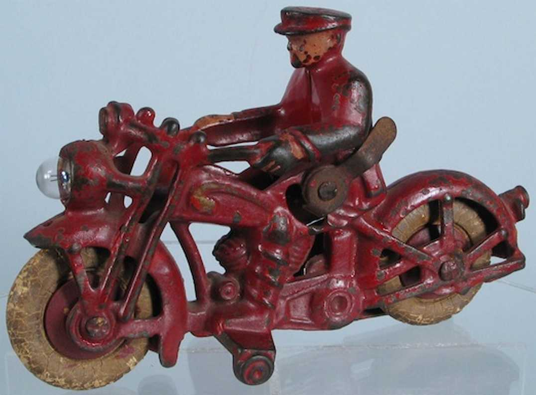 hubley 624e cast iron toy motorcycle with rider and electric light red