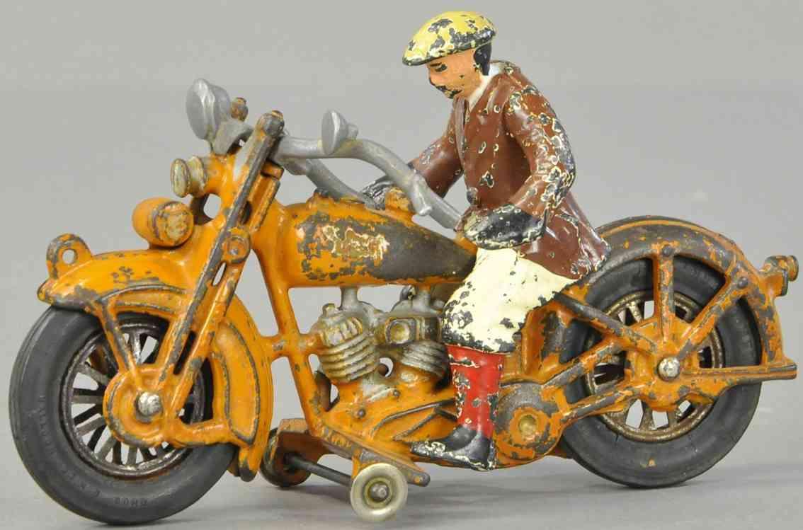 hubley  spielzeug gusseisen harley davidson motorradfahrer olivgruen