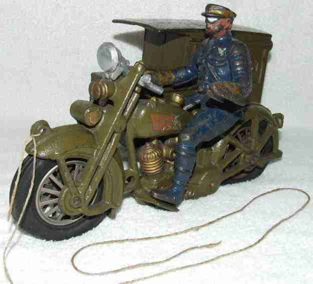 hubley cast iron toy harley davidson motorcycle us parcel post package