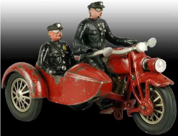hubley spielzeug gusseisen motorrad mit beiwagen in rot