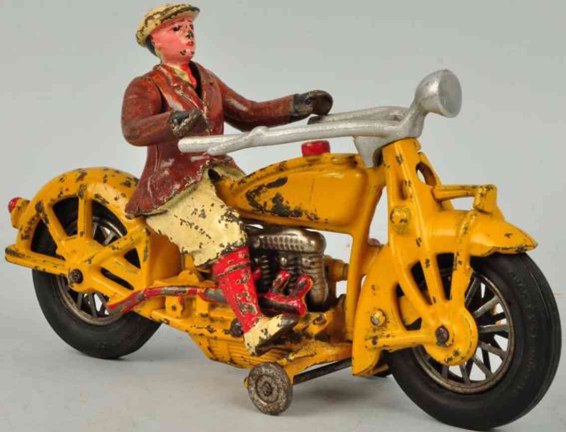 hubley tin toy indian motorcycle with driver cast iron in oange