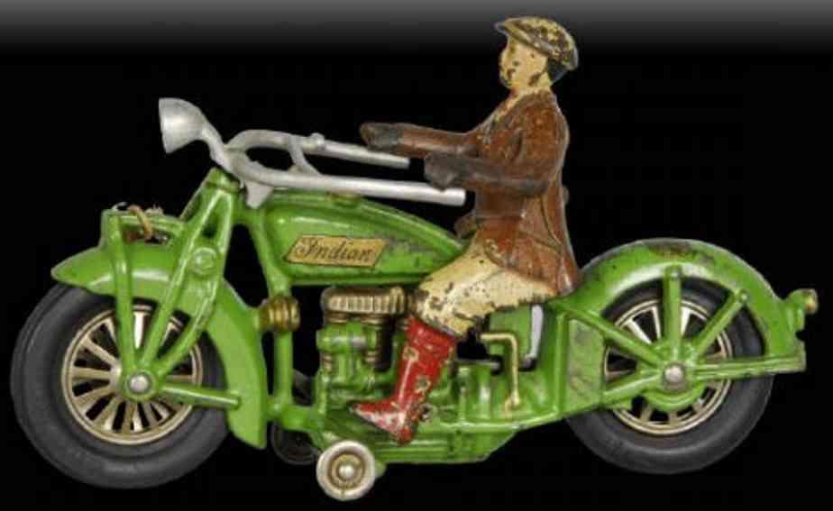 hubley 16 spielzeug gusseisen indian motorradfahrer in gruen