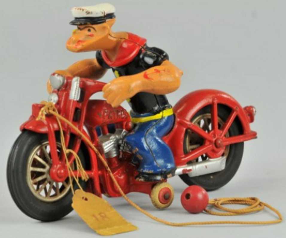 hubley spielzeug gusseisen popeye auf motorrad