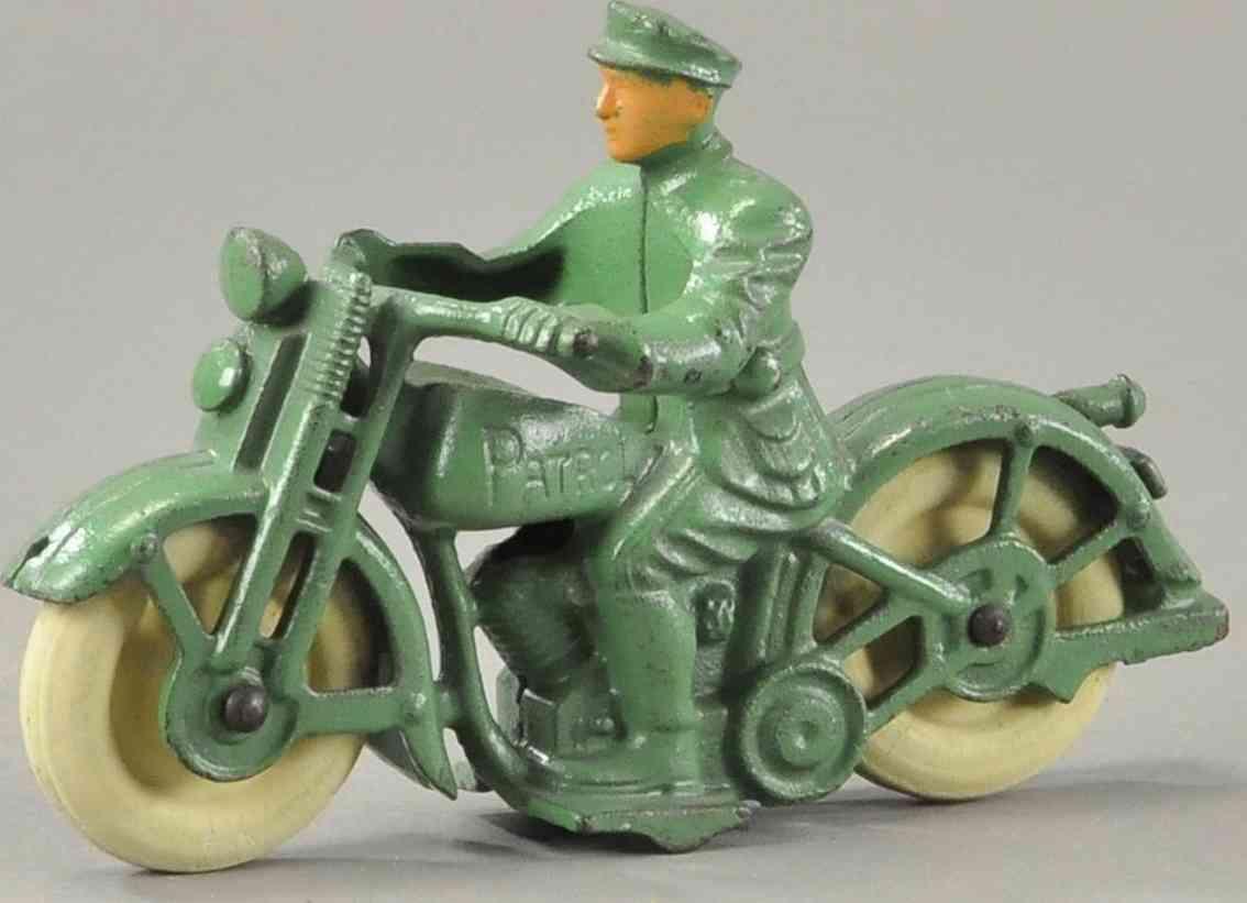 hubley spielzeug gusseisen polizeimotorradfahrer gruen