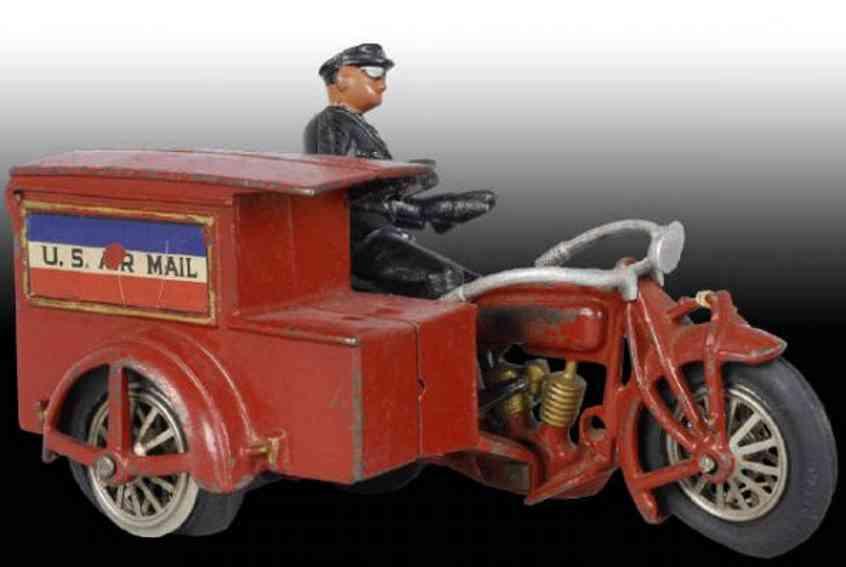 hubley 14 spielzeug gusseisen motorrad indian us post rot zwei zylinder