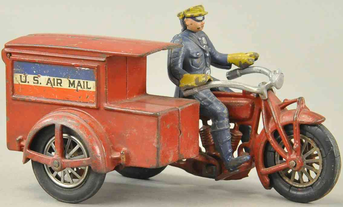 hubley cast iron toy us mail delivery motorcycle red